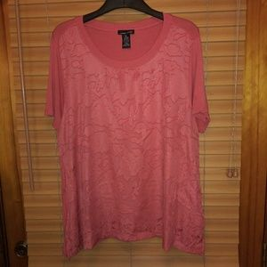 Rxb embellished sheer floral top XL Coral